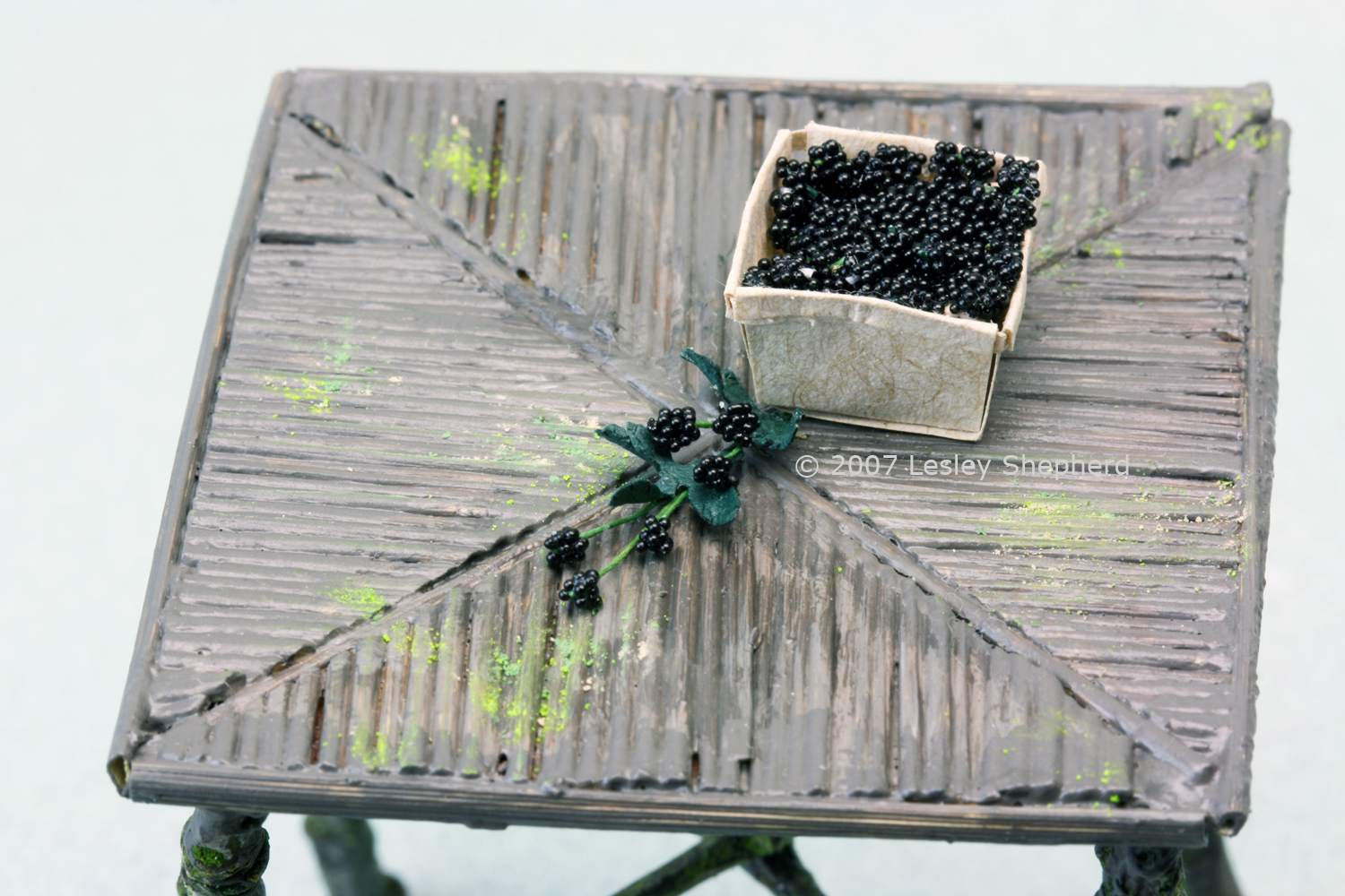 1:12 scale blackberries in a fruit basket