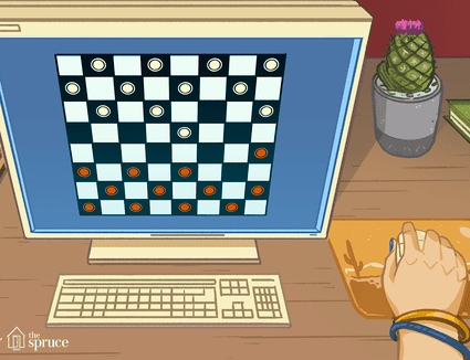 Illustration of hand playing checkers
