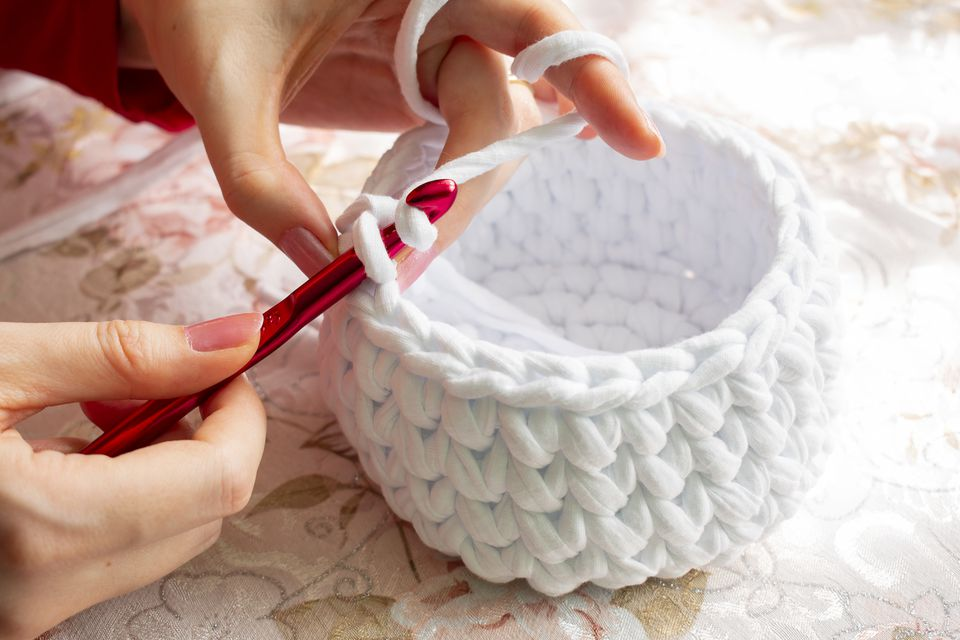Young Woman While Crocheting Close Up. Stay At Home Leisure Activity Idea. Basket Made Of White Yarn