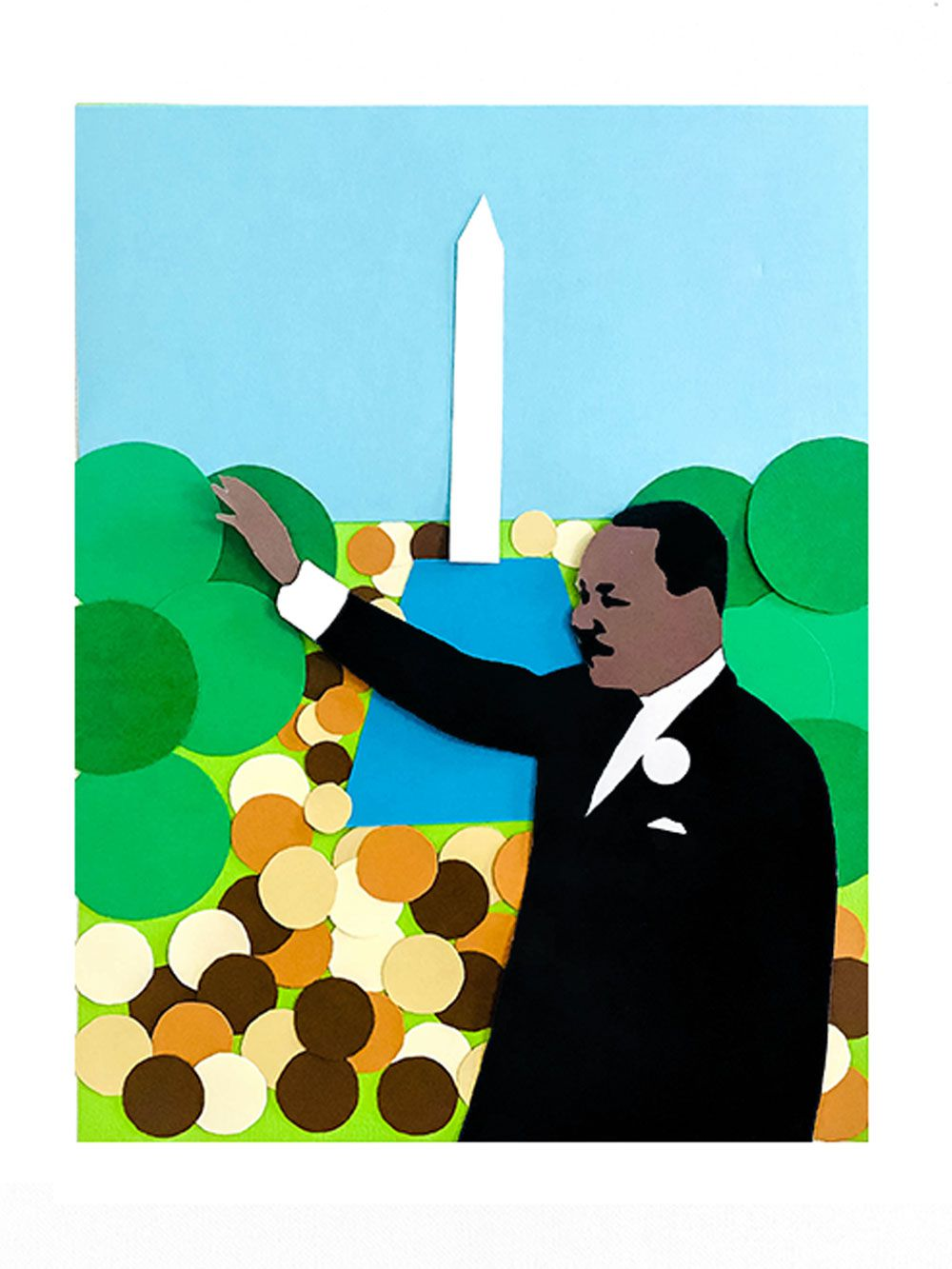 Martin Luther King Jr waving at crowd in collage.