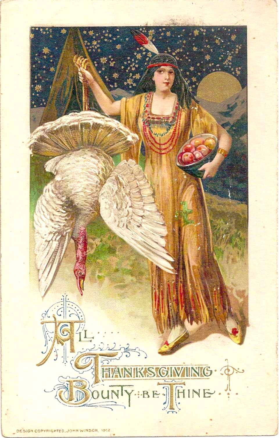 Thanksgiving Postcard Illustrated by Samuel L. Schmucker and Published by John Winsch in 1912