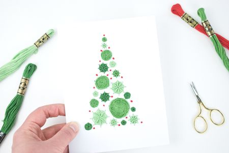 embroidered christmas card