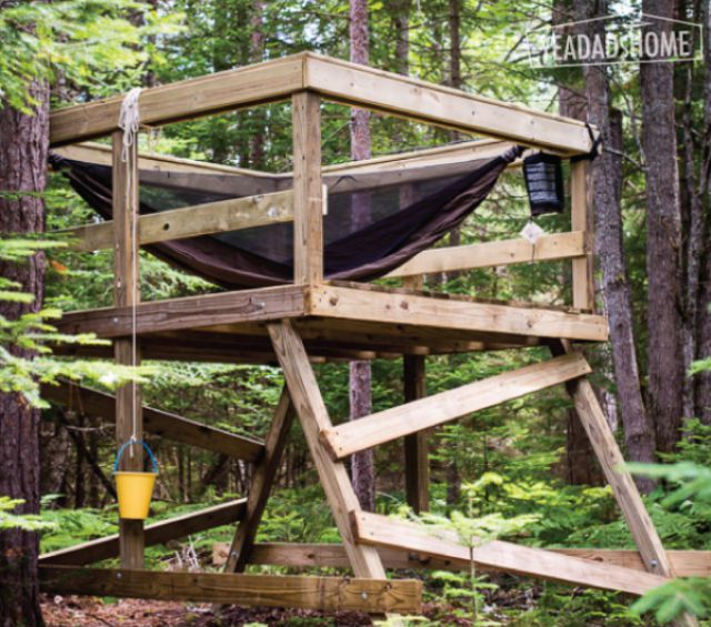 DIY Tree House Plan from Yea Dad's Home - 10 Free DIY Tree House Plans
