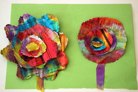 Recycled newspaper flower craft for kids a completed set of painted newspaper flowers mightylinksfo