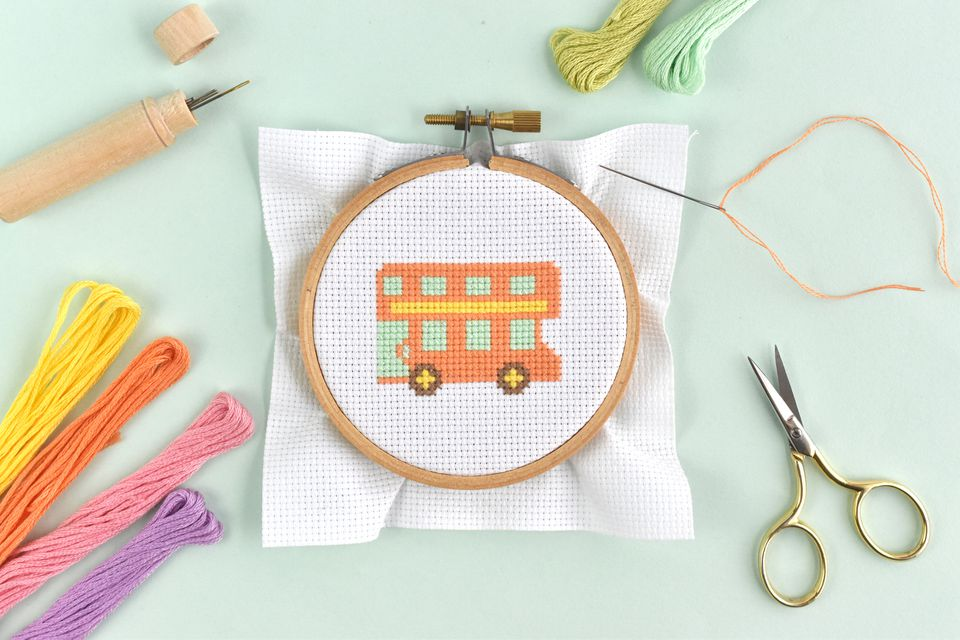 Easy Cross-Stitched Bus Design