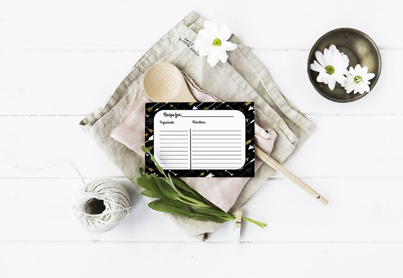 Recipe cards in a kitchen