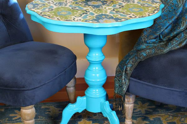 decoupage fabric table makeover
