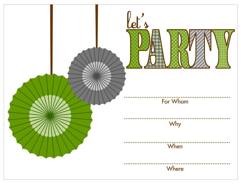 A Green And Gray Birthday Invitation