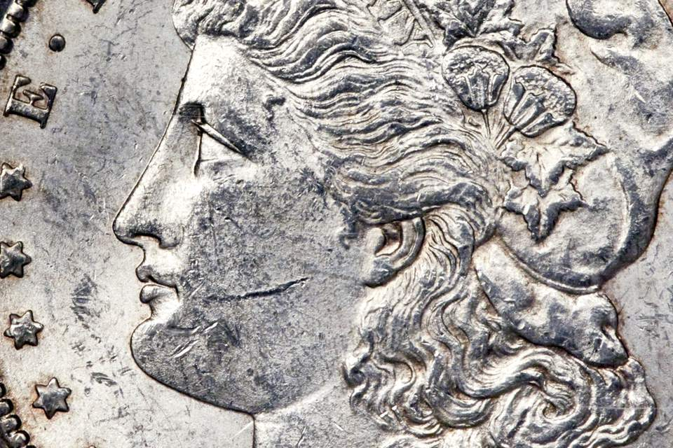 Bag marks on an uncirculated U.S. Morgan silver dollar