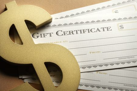a gift certificate template with a dollar sign