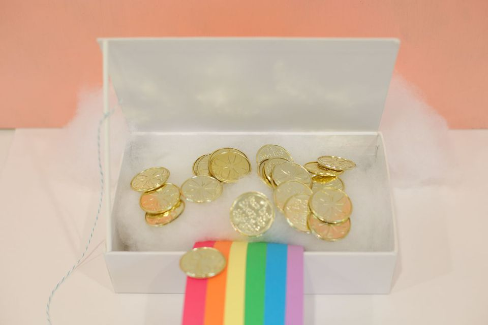 leprechaun trap with rainbow and gold coins