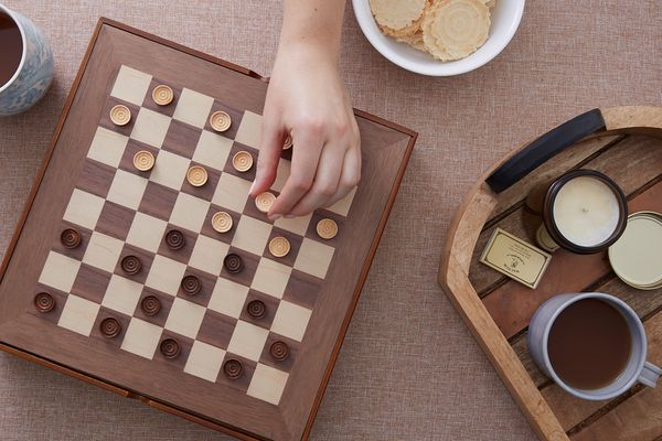 a set up checker board