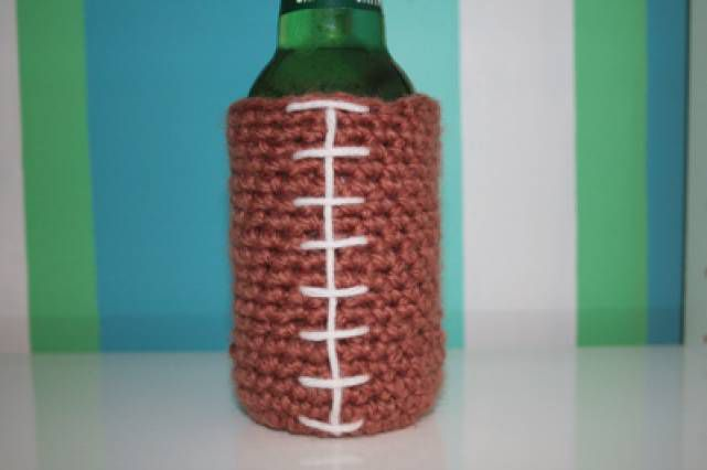 Football Crochet Beer Cozy Free Pattern