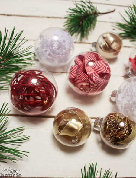 filling clear glass ornaments with ribbon - Decorating Christmas Ornaments
