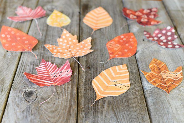 diy fall leaf place cards