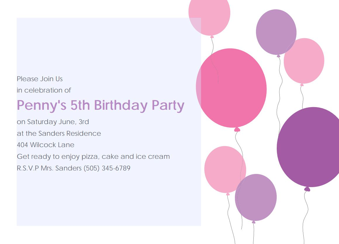 17 free printable birthday invitation templates a birthday party invite with pink and purple balloons filmwisefo