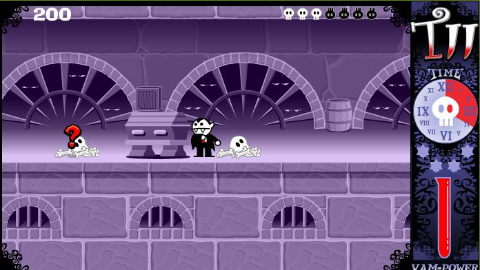 Dracula and skeletons in a basement