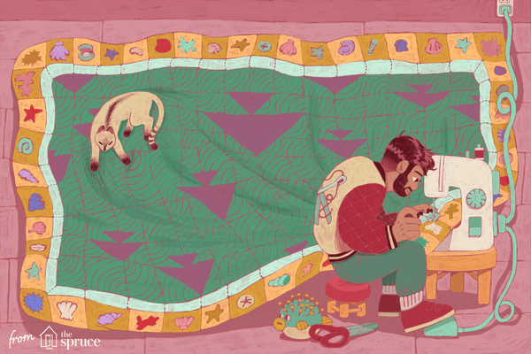 An illustration of a man sewing a quilt with a cat sitting on it