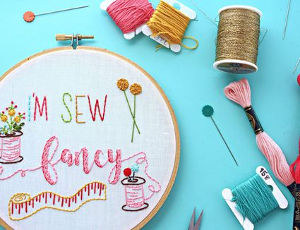 I'm Sew Fancy Hand Embroidery Pattern Close Up