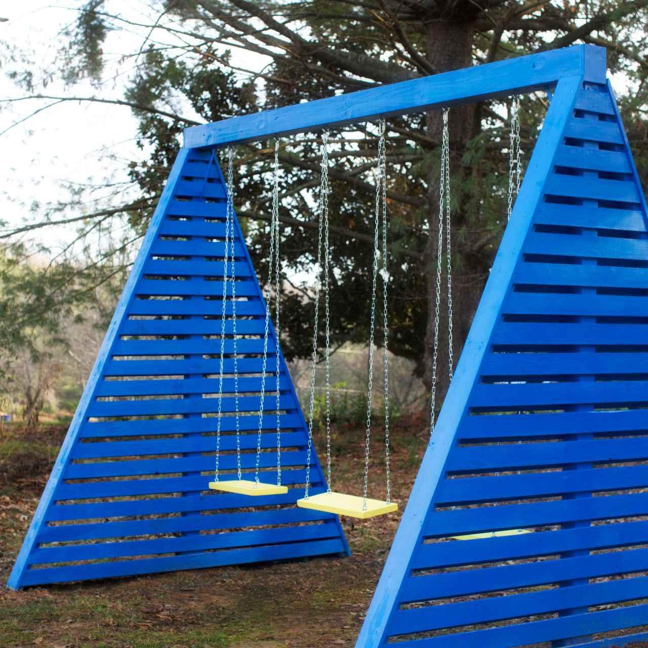 A modern a-frame swing set