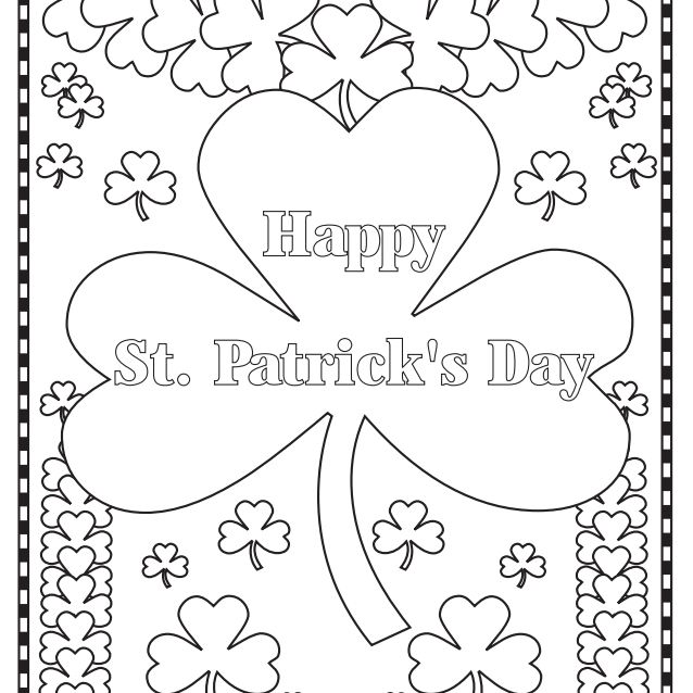 Happy St. Patrick's Day with lots of four-leaf clovers to color