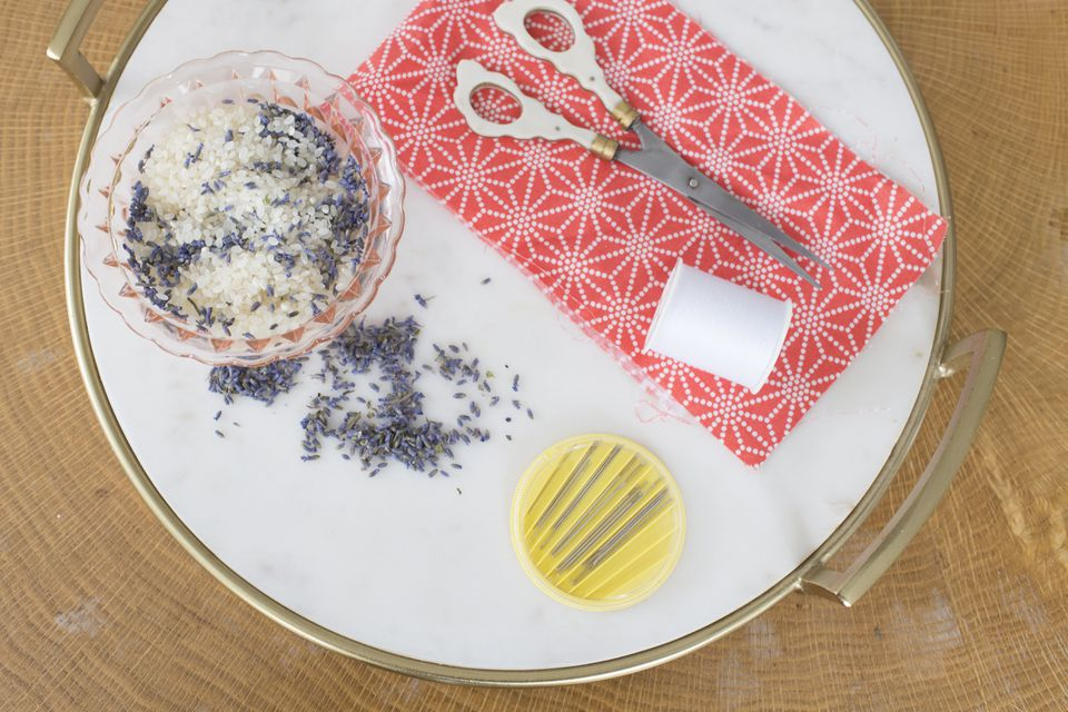 A flat lay photo of supplies needed to make a lavender sachet