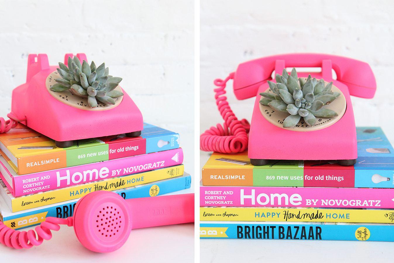 Rotary phone planter