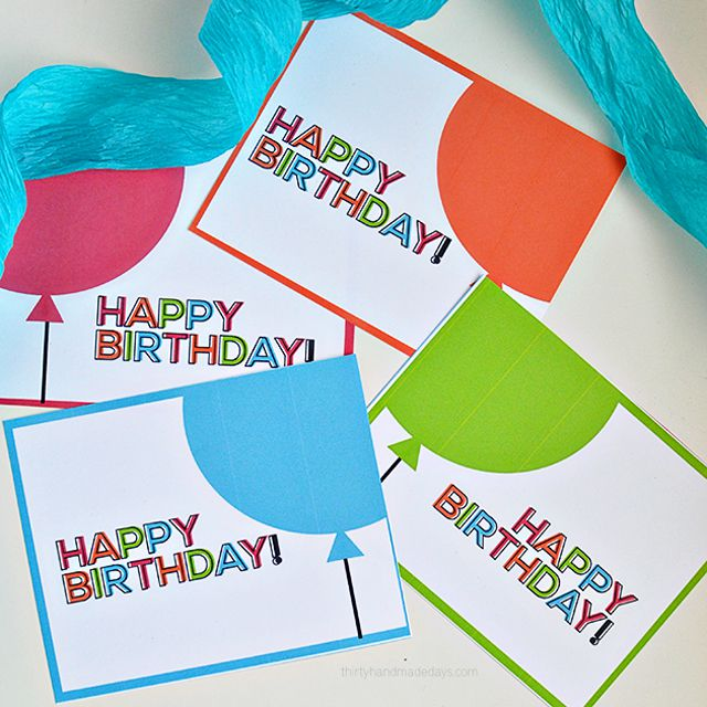 Four Different Colors Of Happy Birthday Cards