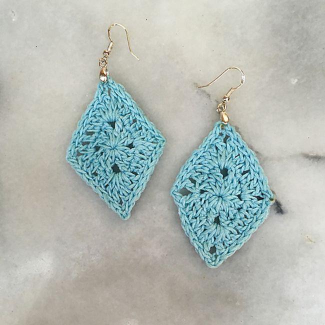 Crochet Diamond Earrings Free Pattern