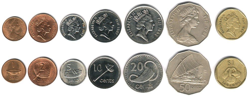 These coins are currently circulating in Fiji as money.