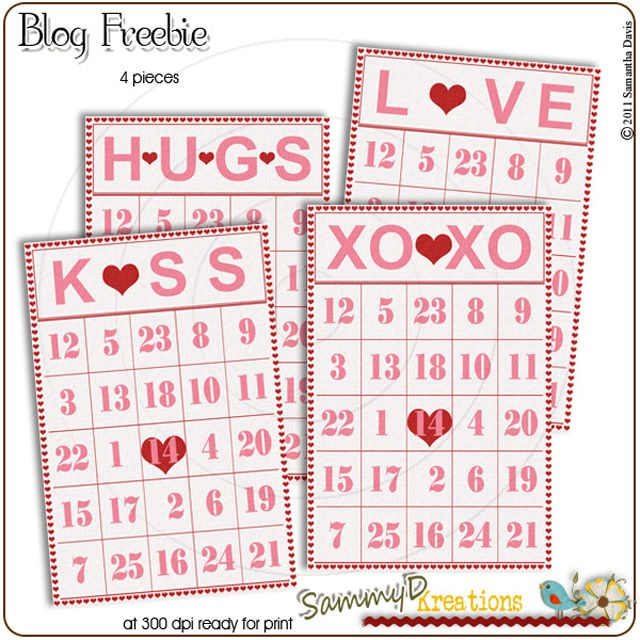 a set of valentine bingo cards in red pink and white