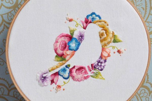 Flower and Bird Iron-On Pattern