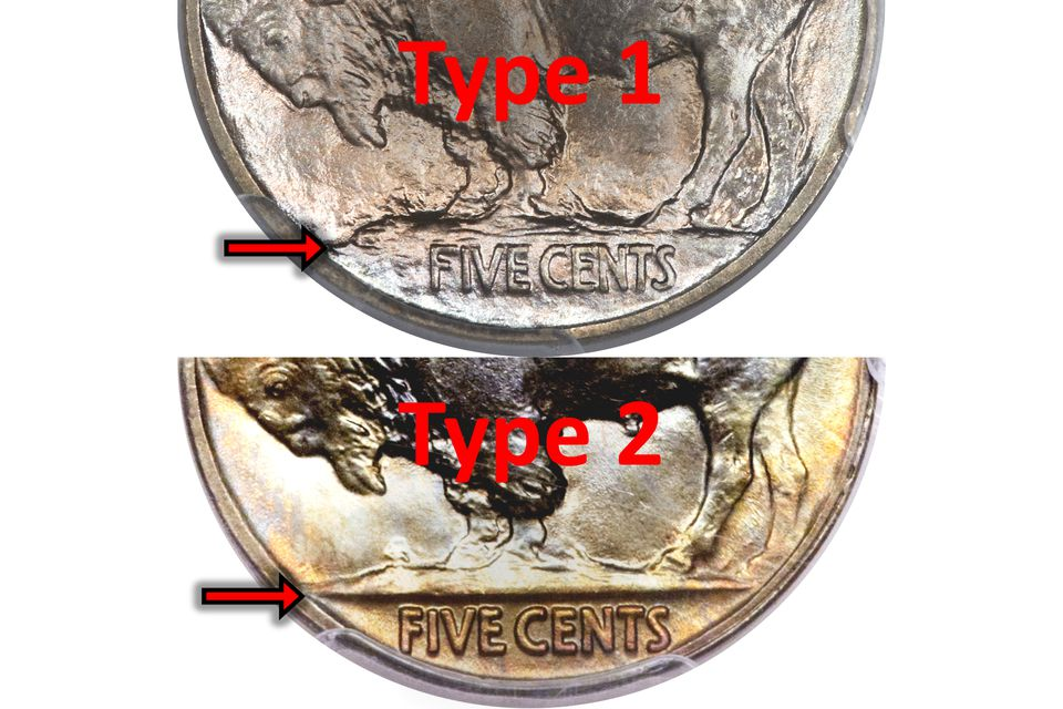 1913-S Buffalo Nickel Type I Compared to Type II Variety