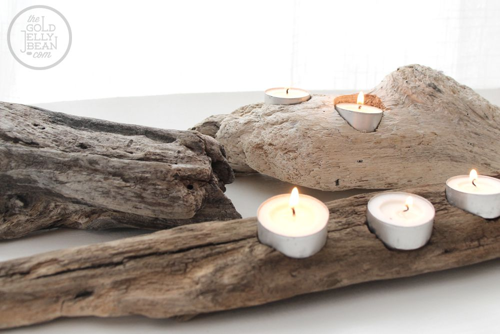 Candle holders carved out of driftwood.