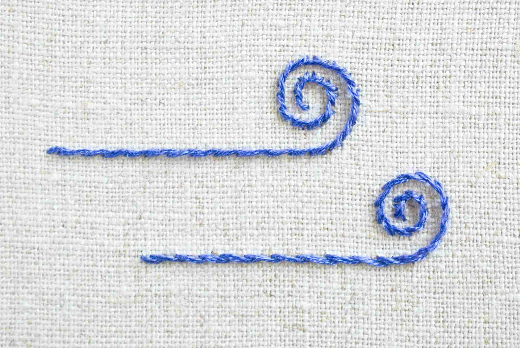 Side-by-side comparison of outline and stem stitch