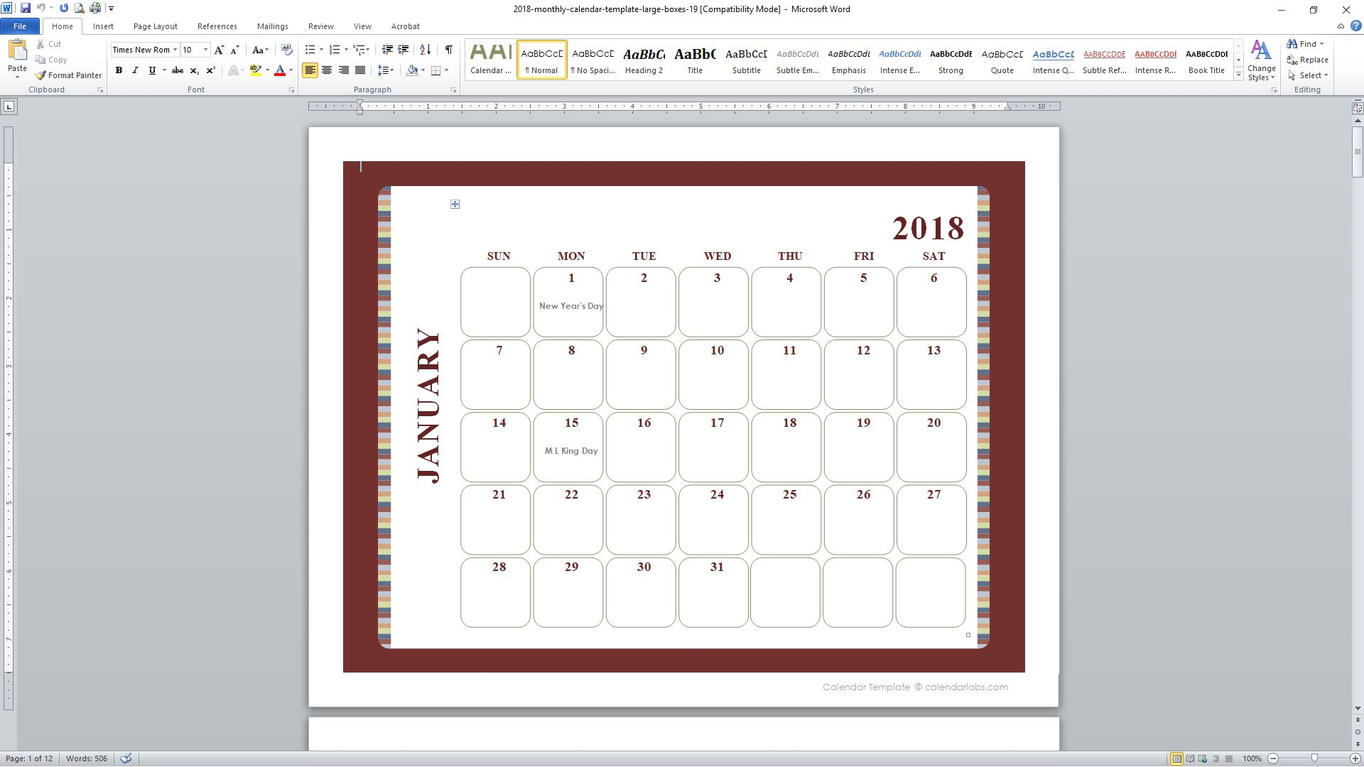 2016 Calendar Template Indesign