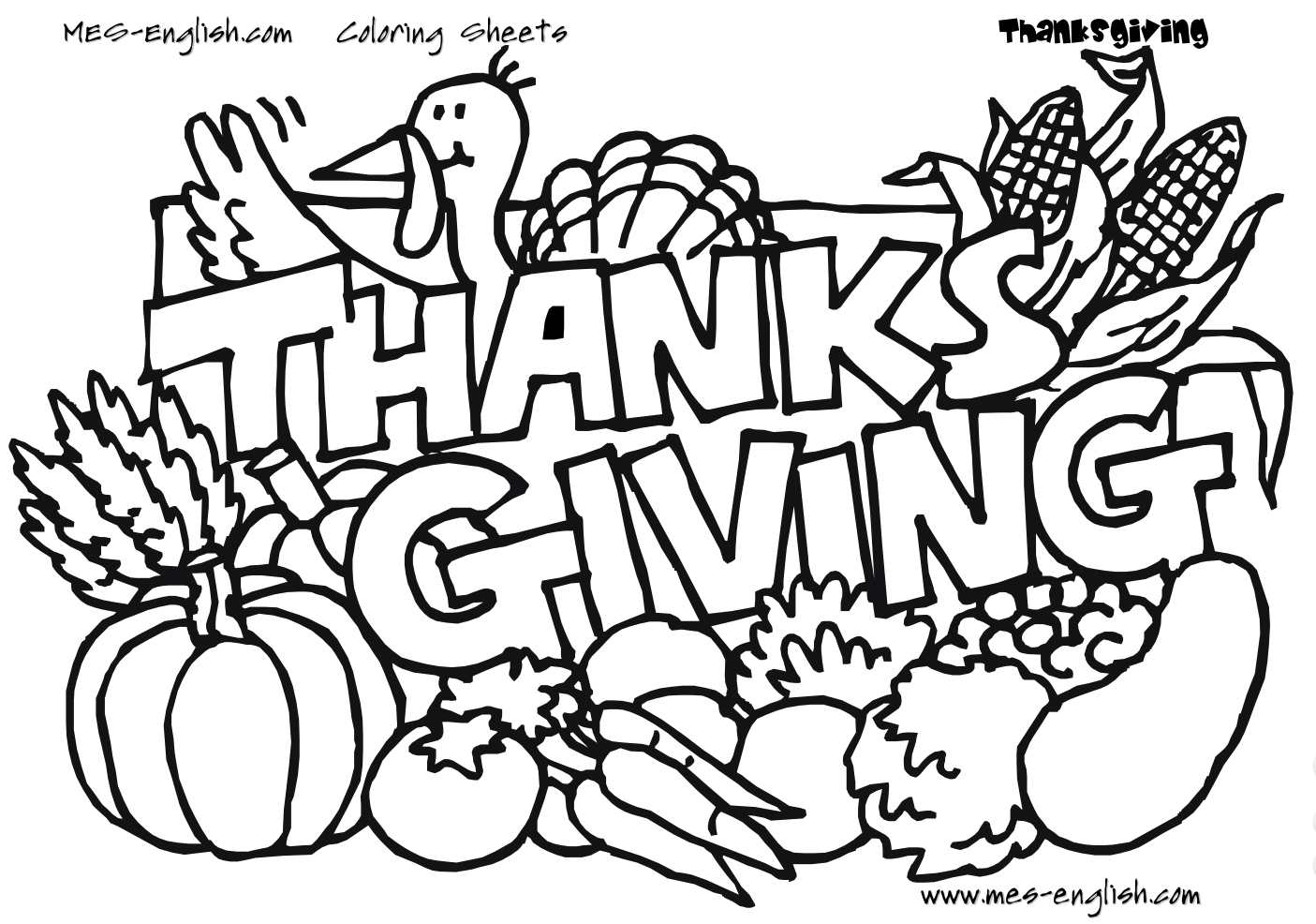 Unique thanksgiving coloring pages