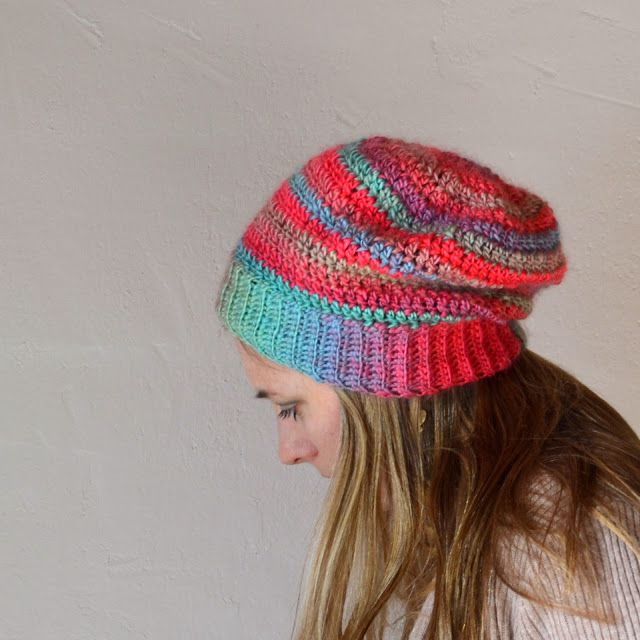 b032f7f82e4 Colorful One-Skein Crochet Hat Free Pattern