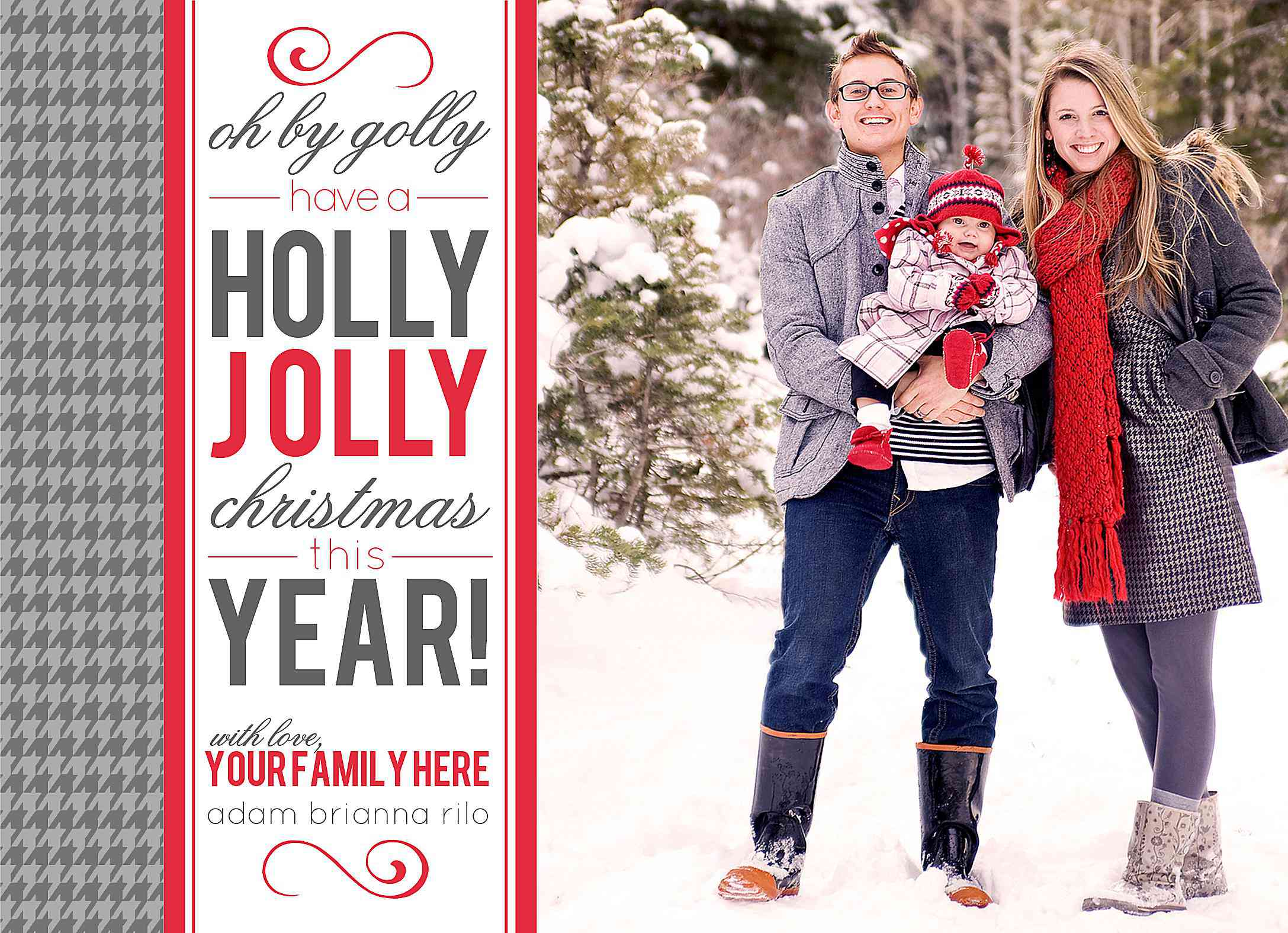 a gray and red modern christmas card template