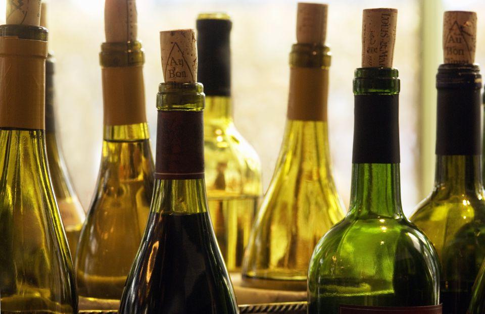 Several Uncorked Wine Bottles