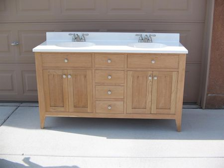 A Bathroom Vanity Built Out Of Cherry Wood Build Something