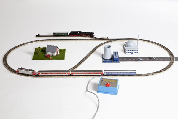 Miniature buildings and train set