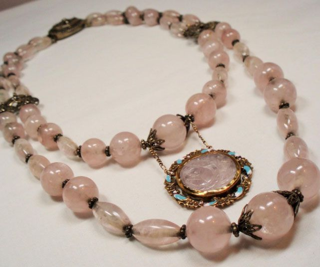 Chinese Export Silver Rose Quartz Bead Carved Medallion Pendant Necklace