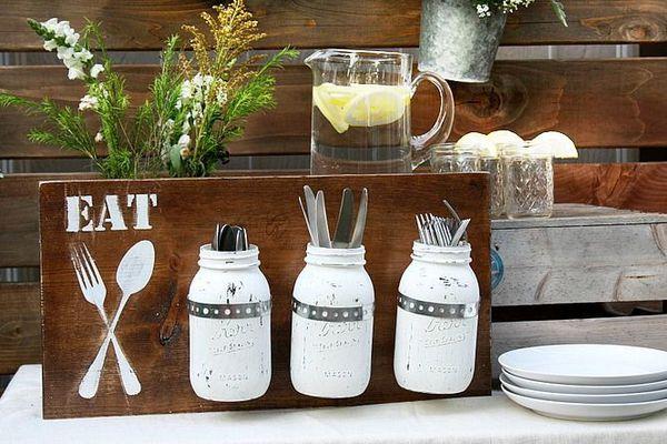 utensil holders made of mason jars
