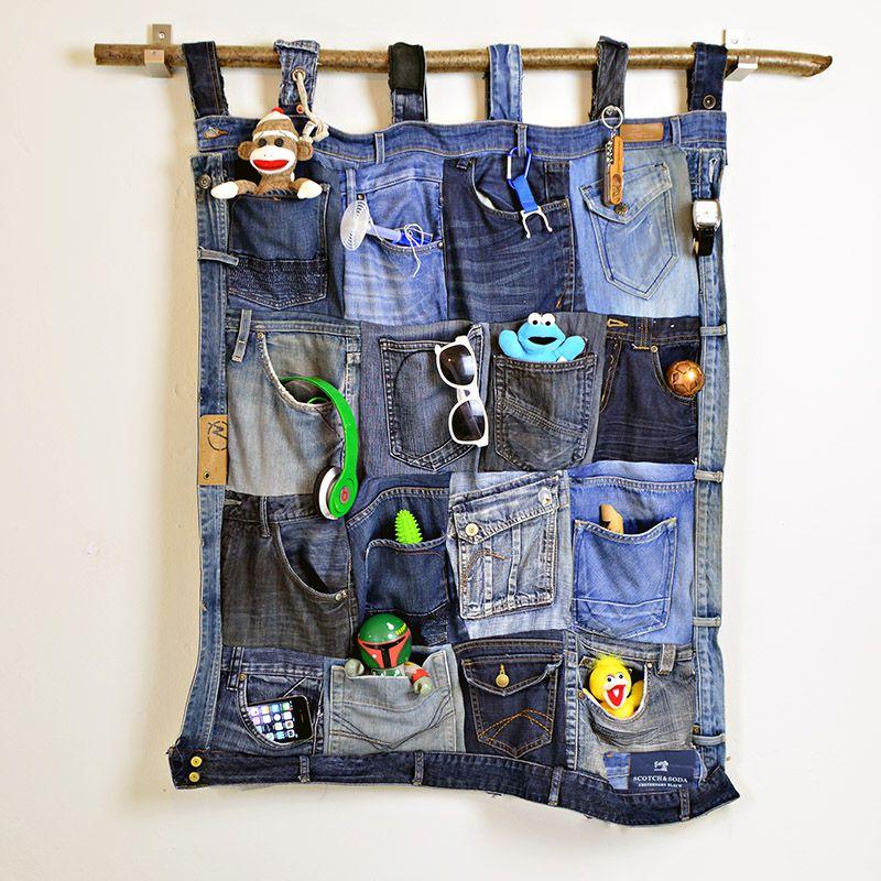 A denim pocket organizer with toys