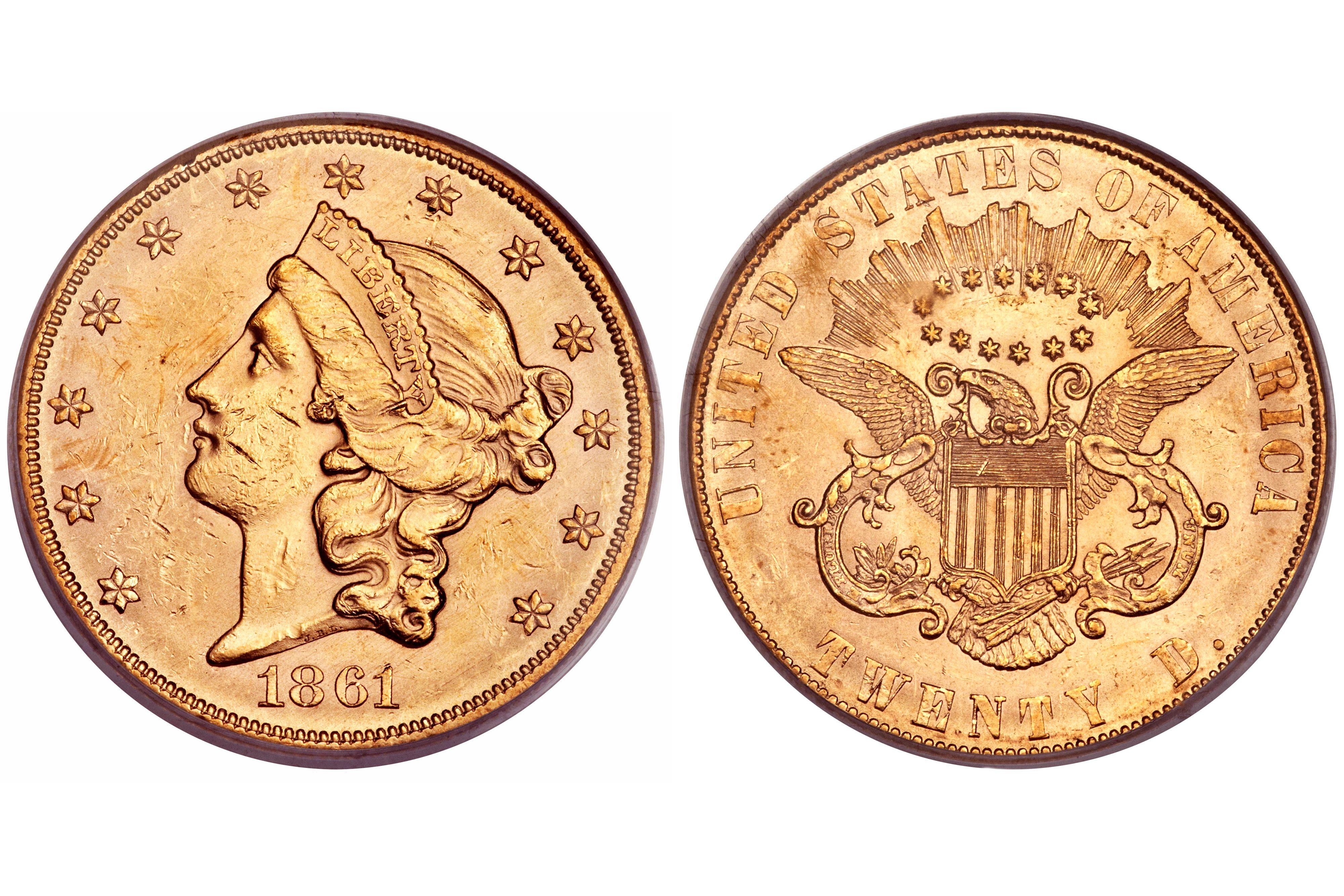 1861 Liberty Head $20 Gold Double Eagle - Paquet Reverse