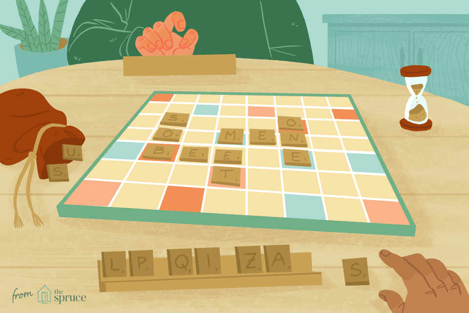 Illustration of people playing scrabble