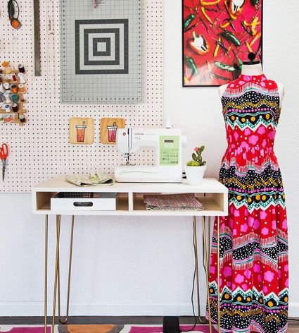 A bright room with a sewing desk