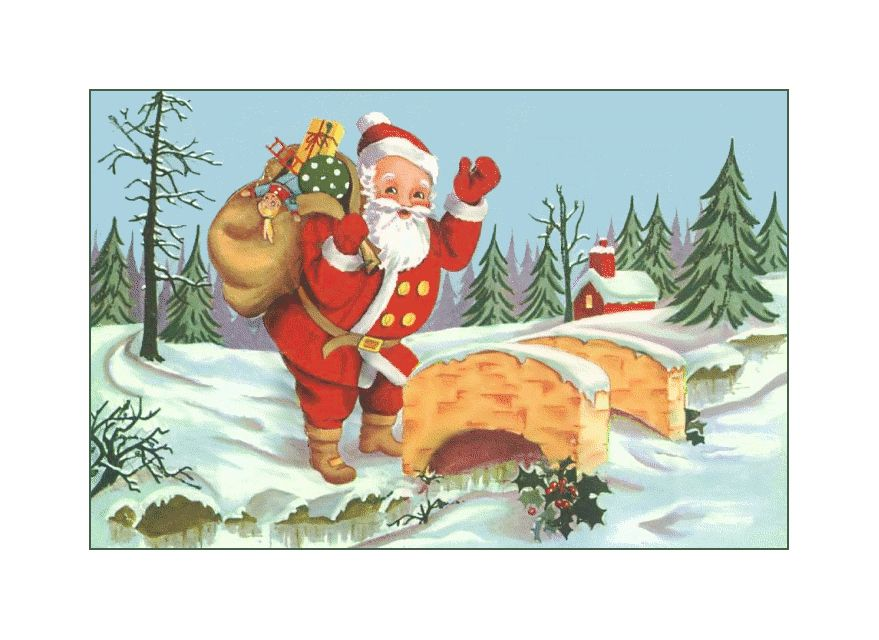 A vintage image of Santa waving.
