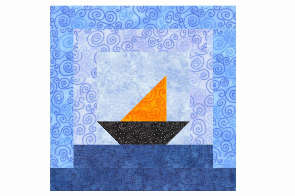 Sailboats Log Cabin Quilt Block Pattern